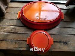 2 LE Creuset Vtg #18 & #38 Cast Iron Flame Orange Red Oval Casserole Pan France
