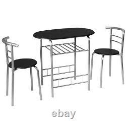 3 Piece Dining Set Table 2 Chairs Bistro Pub Home Kitchen Breakfast Furniture