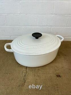 4l Le Creuset Size D 27cm Cast Iron White Oval Casserole Dish Pot Pan With Lid