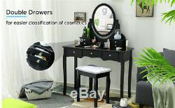 7 Drawers Dressing Table Vanity Set 360° Rotating Oval Mirror With Cushioned Bench