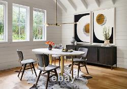 74 L Olina Oval Dining Table Iron Marble Brass Patina White
