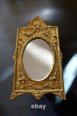 Acanthus Leaf Mirror Gold Cast Iron Oval Vanity Table Top Antique