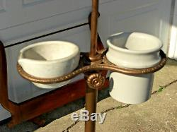 Antique 1800's Shaving Stand with Adjustable Bevel oval Mirror Cast Iron Base Cups