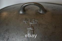 Antique 19th C Swedish Husqvarna 4L Oval Cast Iron Dutch Oven Roaster
