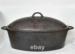 Antique 19th C Swedish KALLINGE 8L Oval Cast Iron Dutch Oven Roaster Kockums