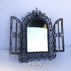 Antique Cast Iron Double Door 12x9 Wall Mirror Vintage Black Early 20t Century