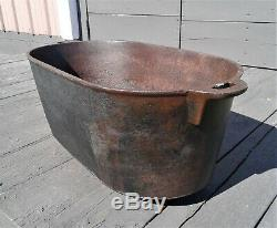 Antique Large Cast Iron Footed Oval Roaster Boiler Gate Marked 8 Quarts 1850s