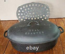 Big Scarce Griswold #7 Dutch Oven 648a Oval Roaster Dish & Cast Iron Trivet