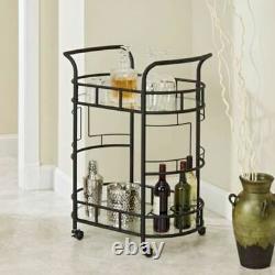Bronze Metal Glass 2-Tier Cocktail Serving Bar Wine Liquor Storage Display Cart
