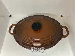 Brown Le Creuset #23 Enameled Cast Iron Oval Dutch Oven 2 3/4- Quart with Lid