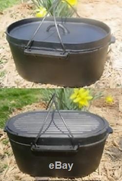 Cast Iron Oval Roaster Self Basting Dutch Oven Wilderness Survival