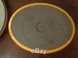 Coucances Doufeu Cast Iron Yellow 6 Qt Oval Roaster Dutch Oven # 16 France