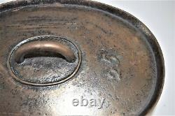 Early Unique Antique Cast Iron Three Legs Oval Roaster Stew Pot Gate Mark