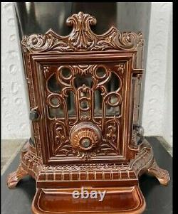 French Godin 3727 Stove Cast Iron Wood Burner Coal multifuel Oval Brown