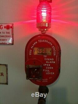 Gamewell Antique Oval Fire Alarm, Telegraph Station Cast Iron Fire Alarm Box