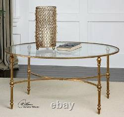 Gold Leaf Oval Coffee Cocktail Table Forged Iron Glass Top Vitya Classic 40