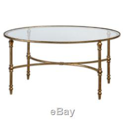Graceful Oval Gold Leaf Forged Iron & Glass Cocktail Coffee Table Horchow