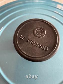 LARGE Cast Iron LE CREUSET Signature ROUND Casserole DISH 24 cm TEAL 4.2L £240