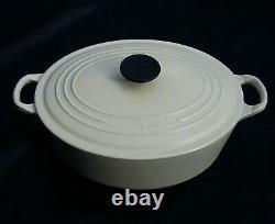 LE CREUSET 29cm oval cast iron CASSEROLE DISH & LID in WHITE