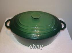 LE CREUSET #31 GREEN Enamel 6 3/4 Quart Oval Dutch Oven Cast Iron MADE in FRANCE