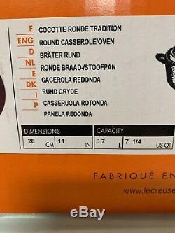 LE CREUSET CASSIS SIGNATURE ROUND CAST Iron Casserole OVEN 7 1/4 QT 28 cm RARE