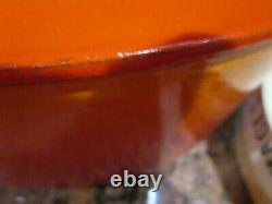 LE CREUSET CAST IRON OVAL FLAME DUTCH OVEN #35 9.5 QTS & 6 CHEESE PLATES 8WithBOX