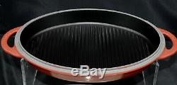 LE CREUSET Cast Iron, Oval Reversible Grill Pan Lid, 4 3/4 Quart, Cherry/Red NEW
