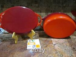 LE CREUSET ENAMELED CAST IRON OVAL CERISE RED DUTCH OVEN with GRILL LID #32