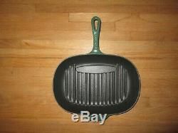 LE CREUSET Forest Green Enameled Cast Iron Oblong Oval 12.5 Grill Pan Skillet