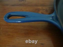 LE CREUSET Large Oval Cast Iron Skillet #40 Blue Enamel 15.75 Wide