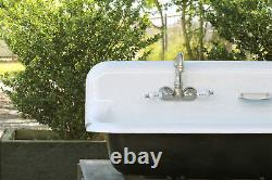 Large 48 Antique Inspired Farm Sink Tricorn Black Cast Iron Trough Sink Package