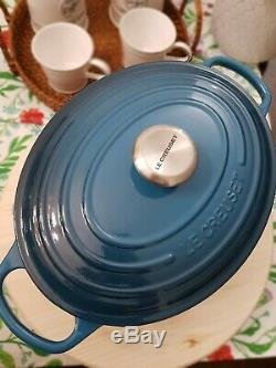 Le CREUSET OVAL Dutch Oven 5qt Deep Teal Color, Rare Color