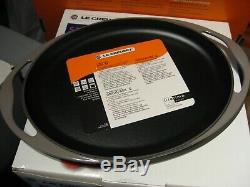 Le Creuset 12 1/4 Sensation Oval Grill Sizzle Platter Flint Gray Oyster No Box