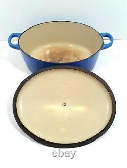 Le Creuset 27 Cast Iron Oval Dutch Oven 3.5 Qt Blue With Lid