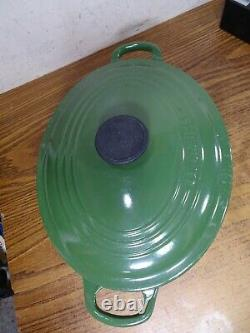 Le Creuset #27 Cast Iron Oval Dutch Oven Vintage Green With Lid