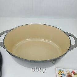 Le Creuset 28 Gray Oval Dutch Oven with Grill Pan Lid 6.75 Qt 6.3 L (NewithNo Box)