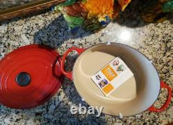 Le Creuset #31 SIGNATURE Cast Iron OVAL Dutch Oven 6-3/4 QTCERISE RED REDUCED