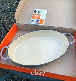 Le Creuset 3qt Oyster/Flint Cast Iron Oval Baker Large NIB