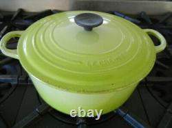 Le Creuset 5.5 Quart Enamel Cast Iron Oval Dutch Oven Kiwi Green