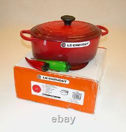 Le Creuset 5 QT / 29cm Signature Oval Iron Cast Dutch Oven Cherry Red NIB