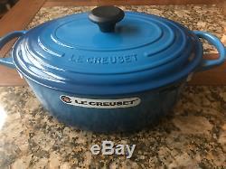 Le Creuset 6 3/4 Quart Oval Marseille Blue Dutch Oven Flawless New