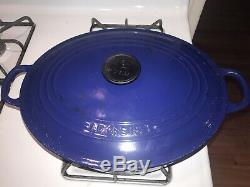 Le Creuset 6.75Qt Oval Dutch Oven withlid Cast Iron Enamel #31 Blue Good Used Cond