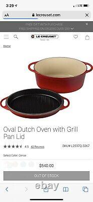Le Creuset 7 1/4 Qt. Oval Dutch Oven with Grill Pan Lid