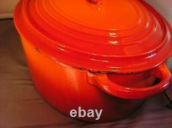 Le Creuset 7.25QT Enamel Cast iron Oval Dutch Oven G Roaster FLAME Orange RED