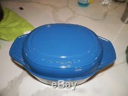 Le Creuset Blue # 27 Oval Deep LID Baking Dish 10 1/2 Long 4 1/4 Qt Roaster