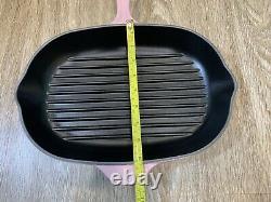 Le Creuset CHIFFON PINK/HIBISCUS Oval Enamel Cast Iron Grill Pan, 32 CM
