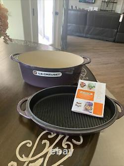 Le Creuset Cassis Plum Purple 4 1/2 Qt. Oval Dutch Oven with Grill Pan Lid 28