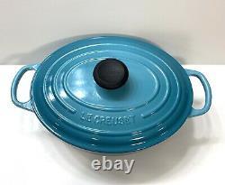 Le Creuset Cast Iron 4.25 Qt Oval Dutch Oven with Lid #27 Blue Caribbean Teal