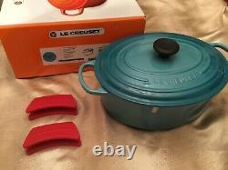 Le Creuset Cast Iron 6 3/4 Qt Oval Dutch Oven # 31 France Caribbean Teal