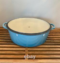 Le Creuset Cast Iron 6 3/4 Qt Oval Dutch Oven with Lid # 31 France Caribbean Teal